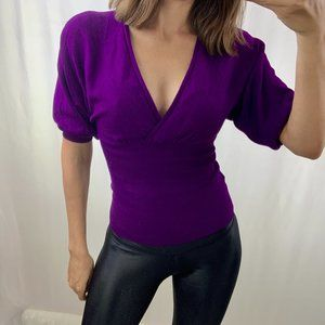 Mango basics sz xs purple fitted wrap v neck top
